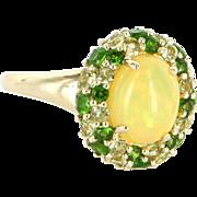 Vintage 10 Karat Yellow Gold Opal Peridot Yellow Topaz Princess Cocktail Ring Estate Jewelry