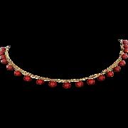 Vintage Natural Mediterranean Red Coral Fringe Necklace 18 Karat Gold Estate Jewelry