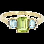 Vintage Peridot Blue Topaz Diamond Cocktail Ring 10k Yellow Gold Estate Jewelry