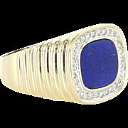 Vintage Mens Lapis Lazuli Diamond 14 Karat Yellow Gold Ring Estate Fine Jewelry 9