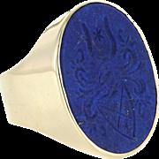 Mens Vintage Family Crest Ring 14 Karat Yellow Gold Lapis Lazuli Sz 8.5 Jewel