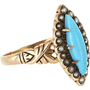 Victorian Navette Turquoise Seed Pearl Antique Ring 14 Karat Yellow Gold Vintage