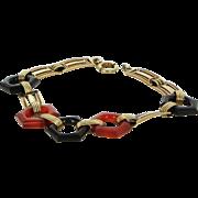 Vintage Art Deco Enamel Bracelet Carnelian Onyx 14 Karat Gold Estate Jewelry Fine