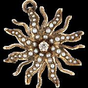 Antique Victorian Diamond Seed Pearl Sunburst 14 Karat Gold Pendant Brooch Vintage