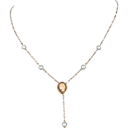 Cameo Pearl Drop Necklace Vintage 14 Karat Yellow Gold Estate Fine Jewelry Heirloom