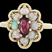 Opal Pink Tourmaline Vintage Cocktail Ring 14 Karat Yellow Gold Estate Fine Jewelry
