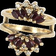 Wedding Ring Guard Wrap Vintage Ruby Diamond 14 Karat Yellow Gold Estate Bridal 5.5