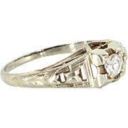 Vintage Art Deco Diamond Ring 14 Karat White Gold Vintage Fine Jewelry Pre Owned