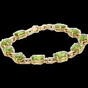"Peridot Tennis Line Bracelet Vintage 14 Karat Yellow Gold Estate Fine Jewelry 7"""