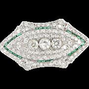 Vintage Art Deco 950 Platinum Diamond Emerald Pendant Brooch Estate Heirloom Fine