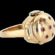 Vintage Mechanical Ring Watch 14 Karat Yellow Gold Ruby Estate Fine Jewelry Sz 6.5