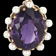 Large Amethyst Cultured Pearl Vintage Pendant 14 Karat Rose Gold Estate Fine Jewelry