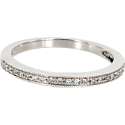 Vintage Half Diamond Band Ring Micro Pave 14 Karat White Gold Stack Sz 7