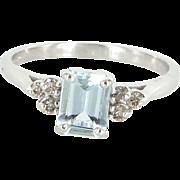 Aquamarine Diamond Small Vintage Cocktail Ring 14 Karat White Gold Estate Jewelry