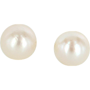 9mm Cultured Pearl Stud Earrings Vintage 14 Karat Yellow Gold Estate Fine Jewelry