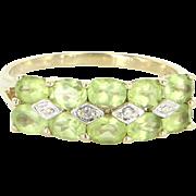 Double Row Peridot Diamond Vintage 10 Karat Yellow Gold Band Ring Estate Jewelry 7.25