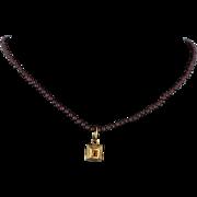 Rubellite Tourmaline Citrine 18 Karat Gold Bead Necklace Estate Fine Jewelry Vintage