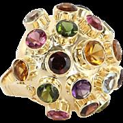 Sputnik Gemstone Dome Cocktail Ring 18 Karat Yellow Gold Topaz Garnet Sz 5