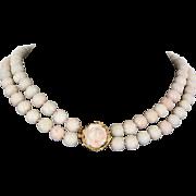 Carved Angel Skin Coral Vintage Double Strand Necklace 14 Karat Gold Heirloom Flower
