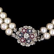 En Tremblant Vintage Double Strand Cultured Pearl Necklace Diamond Sapphire