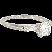 Vintage Art Deco 900 Platinum Diamond Engagement Ring Estate Fine Jewelry Heirloom