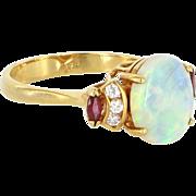 Opal Ruby Diamond Cocktail Ring Vintage 18 Karat Yellow Gold Estate Fine Jewelry