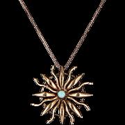 Vintage Art Deco Opal Sunburst Pendant 14 Karat Rose Gold Estate Heirloom Jewelry