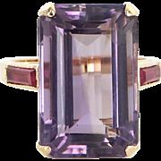 Amethyst Ruby Vintage Cocktail Ring 14 Karat Gold Estate Fine Jewelry Heirloom 7