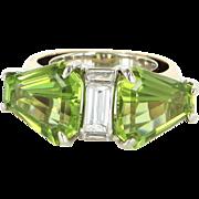 Peridot Diamond Modernist Vintage Cockatil Ring 14 Karat Gold Estate Heirloom 7