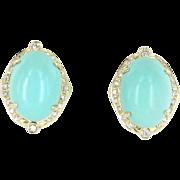 Egg Shell Blue Turquoise Diamond Vintage Earrings 14 Karat Gold Estate Fine Jewelry