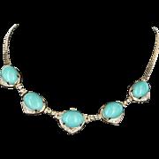 Egg Shell Blue Turquoise Diamond Vintage Necklace 14 Karat Gold Estate Jewelry Fine