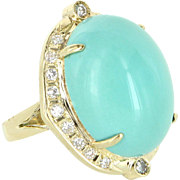 Egg Shell Blue Turquoise Diamond Vintage Cocktail Ring 14 Karat Gold Estate Jewelry