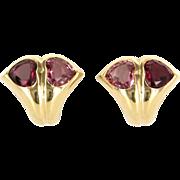 Bulgari Pink Tourmaline Heart Earrings 18 Karat Yellow Gold Designer Jewelry Vintage