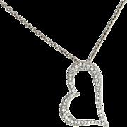 Estate 950 Platinum Pave Diamond Heart Pendant Necklace Fine Jewelry Pre-Owned