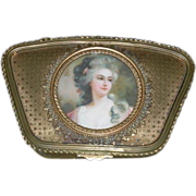 Beautiful, Antique, 1800's - Gold Bon Bon Box w/ Portrait of Woman - Marked : France!!!