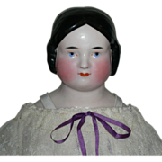 SOLD CHINA HEAD - Pink Tint - Short Finger Length Even Curls - Antique Body w/ Leather Arms -