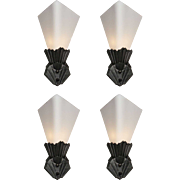 Fabulous Antique Art Deco Sconce Pairs with Glass Shades, c.1920s