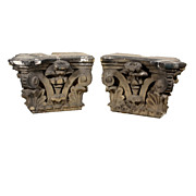 Remarkable Pair of Antique Carved Limestone Corinthian Pilaster Capitals, c. 1890s