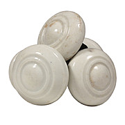 Unusual Antique White Porcelain Doorknob Sets, Late 19th Century