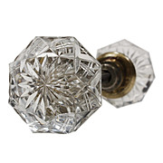 Fabulous Antique Wheel Cut Glass Door Knob Set