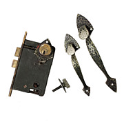 SOLD Complete Antique Welch Hammered Arrow Thumb Latch Set with Lock