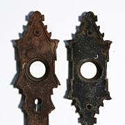 Magnificent Pair of Antique Cast Bronze Door Plates, c. 1880's