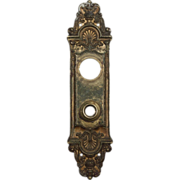 """Marvelous Antique Cast Bronze Entry Backplates, """"Fenmore"""" by Reading c. 1910"""