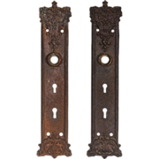 "Antique Cast Iron ""Brunswick"" Exterior Door Plates by Russell & Erwin, c. 1899"