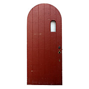 """Arched Antique Exterior 36"""" Arched Plank Door with Small Window, Early 1900s"""