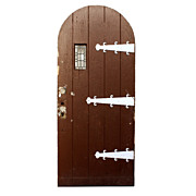 """Antique 36"""" Arched Plank Door with Strap Hinges and Leaded Glass Window"""