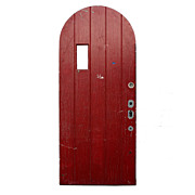 """Salvaged Exterior 36"""" Arched Plank Door with Red Paint"""