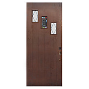"Salvaged 36"" Plank Door with Rare Stained Glass Speakeasy"
