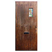 "Antique 36"" Plank Door with Stained Glass Window, Early 1900s"