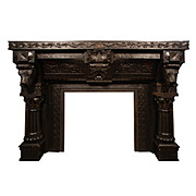 Substantial Antique Walnut Figural Fireplace Mantel with Lions, c.1870